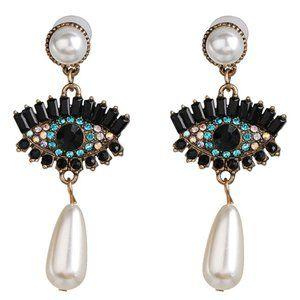 Jewelry - Eye Rhinestone Pearl Dangle Earrings NWOT